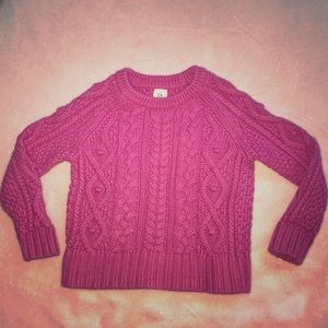 Toddler Girls Pink Woven Thick Sweater